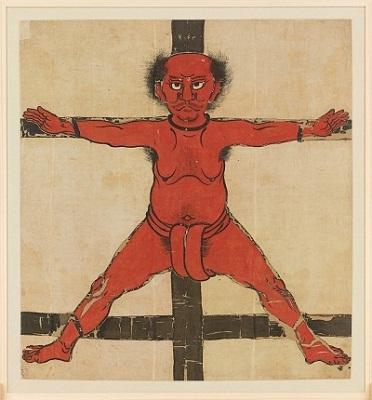 磔にされた武士を描く「落合左平次道次背旗」が修理後、初お披露目!