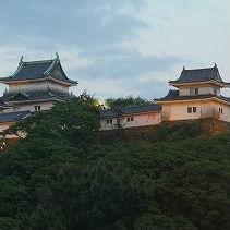 夕景から夜景へと移りかわる和歌山城の天守