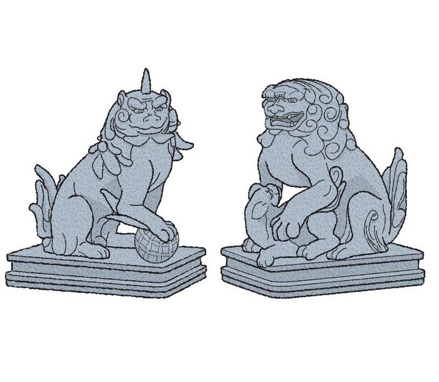 2体いる狛犬はそれぞれ別の生き物だった <br />向かって左側はイヌだが右側は……